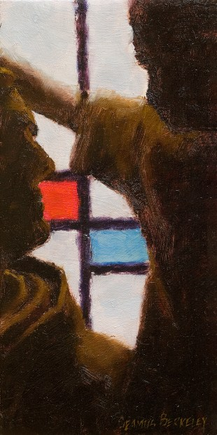 Close-up painting of a siloutette of a religious statue in front of stained glass window of Dawros Church, Kenmare, County Kerry, Ireland.