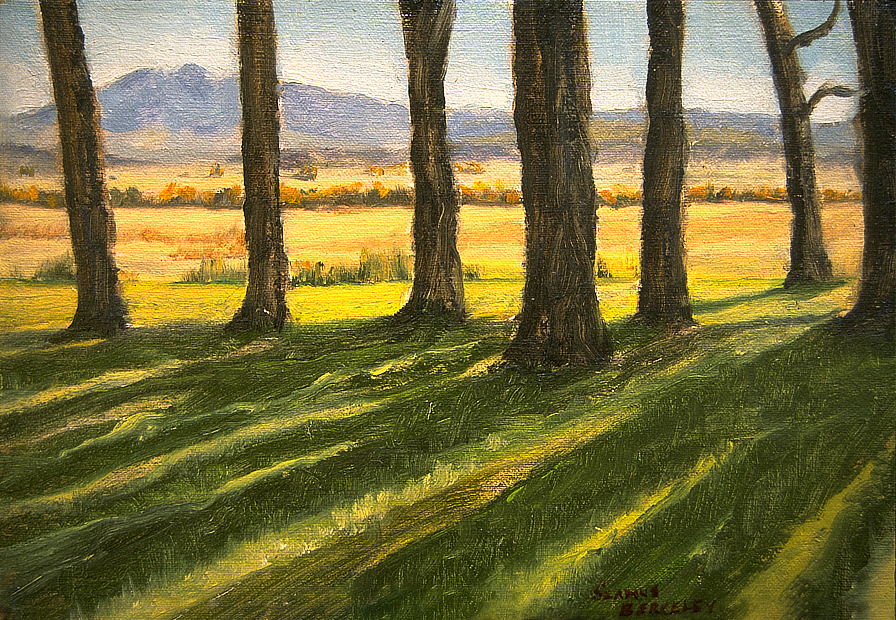 A row of trees casting shodows on a bright green lawn with blue sky and mountains of Wyoming in the distance.
