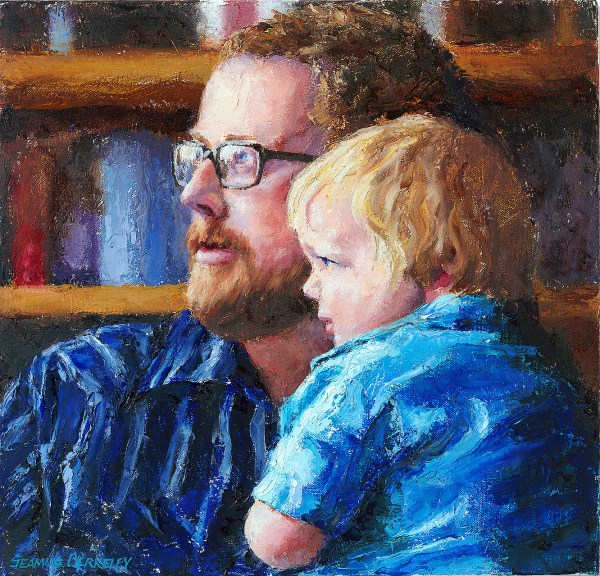 Oil portrait painting of a father and son looking toward the light shining through a window with a bookcase filled with books in the background.