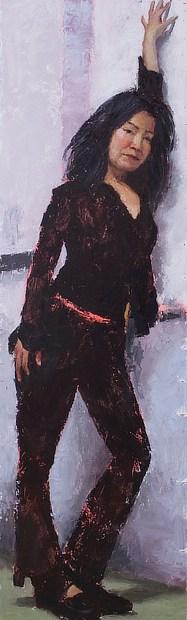 Figurative oil painting of Amy posing in the studio in Berkeley, California.