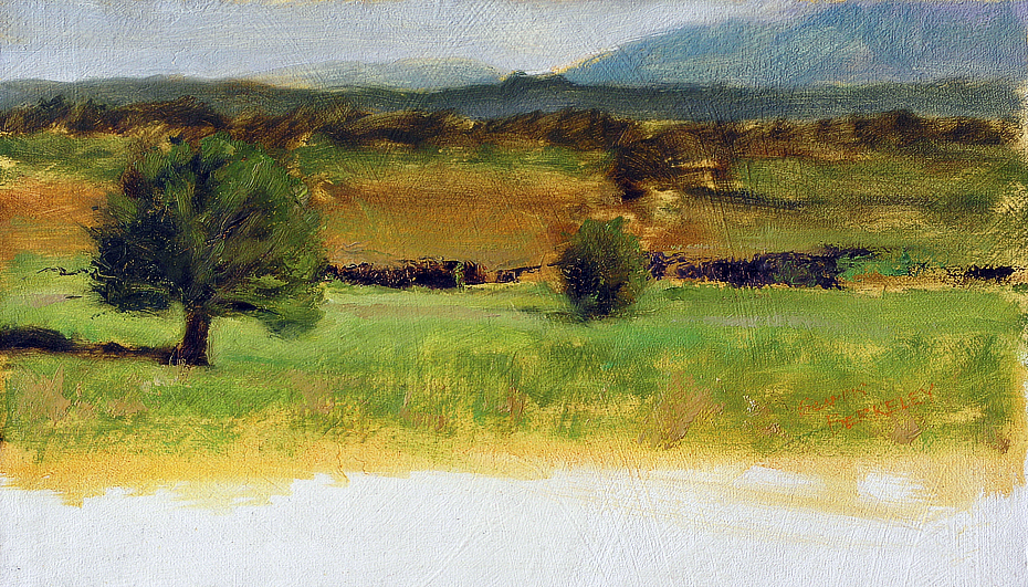 Landscape oil painting of the Hondo Mesa, just north of Taos, New Mexico with the mesa and juniper trees in foreground and mountains in the distance.