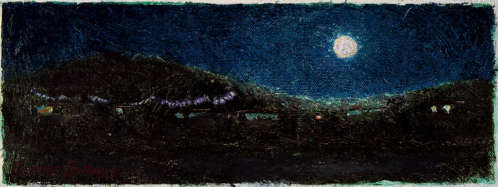 Oil painting night scene of the full moon rising above the Sangre de Cristo mountain range as seen from the west on the Taos Mesa.