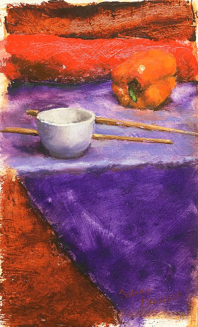 Still life oil painting of a small white cup, chopsticks and an orange pepper on a purple and red background.