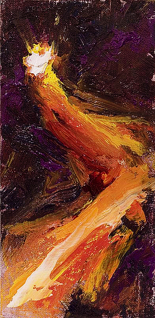Abstract oil painting of a bright white light with a colorful tail of red, orange and yellow colors flying through a dark violet background.