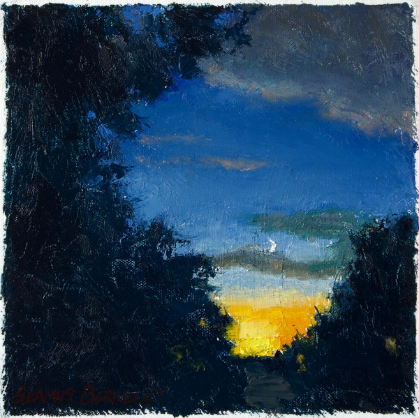 """Oil painting of a sliver of a moon in a dark blue evening sky with orange and yellow glow of the sun below the horizon all framed by dark leaves of trees. Walking Home, Original oil on canvas, 9.5"""" x 9.5"""" Framed prints and canvases, digital download, commercial and advertising licensing of photographs by Seamus Berkeley."""