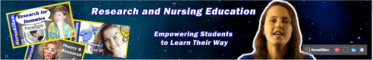 """YouTube screen shot showing: """"Research and nursing education."""" """"Empowering students to learn their way."""""""