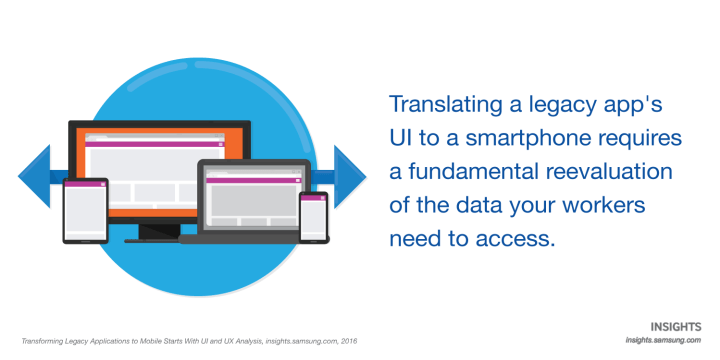 Translating a legacy app's UI to a smartphone requires a fundamental reevaluation of the data your workers need to access.