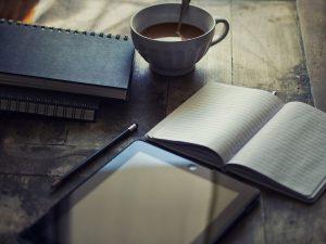 journal, tea, pencil, iPad