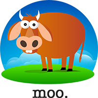 The cow says moo.