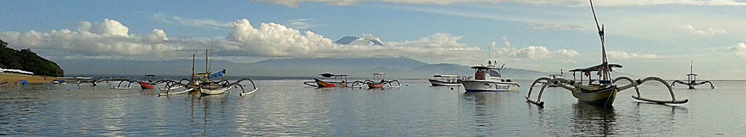 Boats on the beach in Sanur, Bali, Indonesia