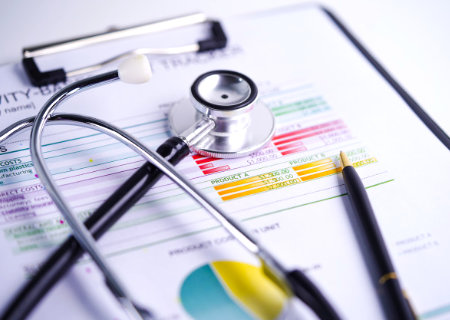 Stethoscope and patient chart.