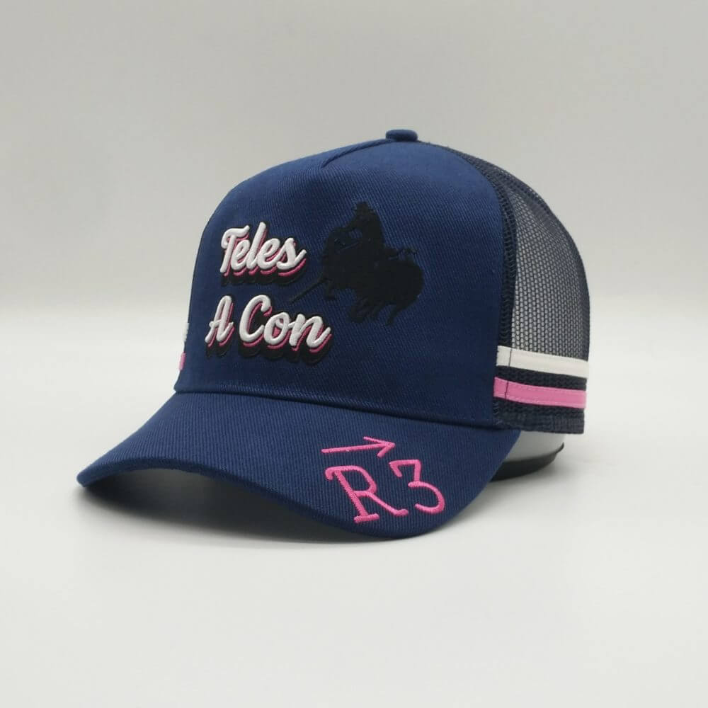 Trucker Hat - Baseball cap - Promotional Merchandise - Teles A Con - Front View - Pink