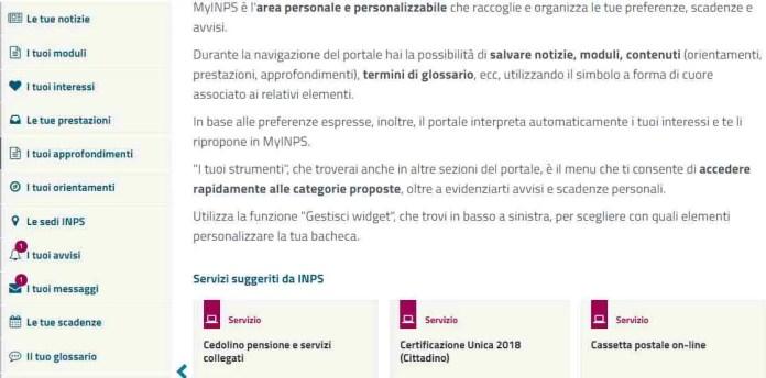 My Inps servizio Cedolino pensione e servizi collegati