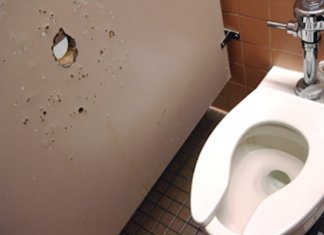 A glory hole in a bathroom in Middleton Library. Photo by James Spencer.