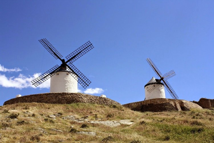 windmills in La Mancha, one of the most beautiful routes in Spain
