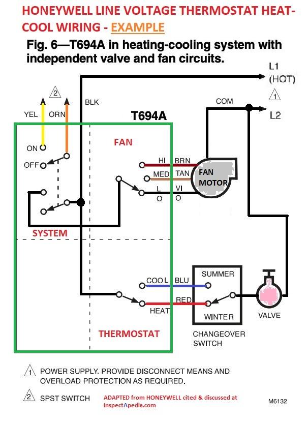 diagram double pole line voltage thermostat wiring diagram