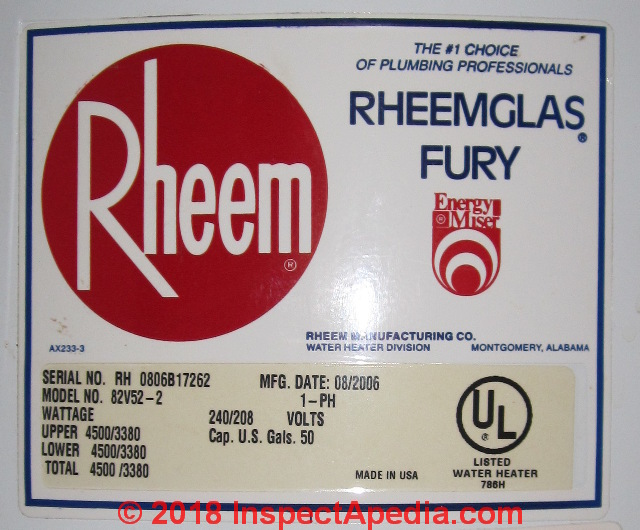 rheem contact water heater age serial number decoder