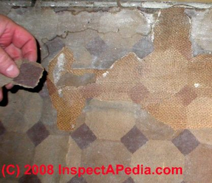 Questions   answers how to identify floor tiles or sheet flooring as     Asbestos suspect sheet flooring from Justin Morrill Homestead