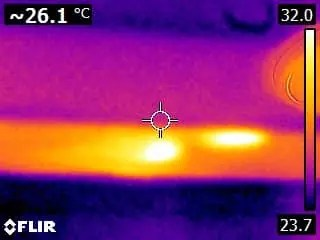 thermal imaging showing squirrels inside roof