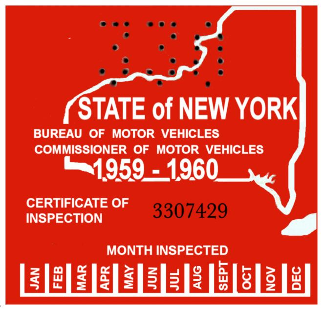 A 2009 Safety And Emissions Certificate From New York