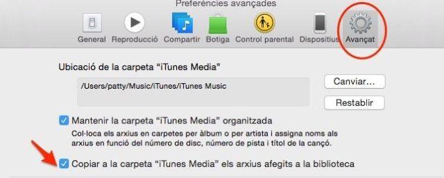 Preferencias avanzadas iTunes