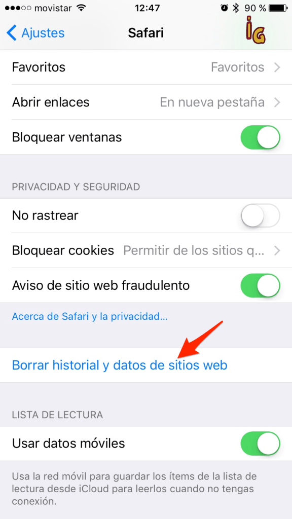 bateria en iOS __safari