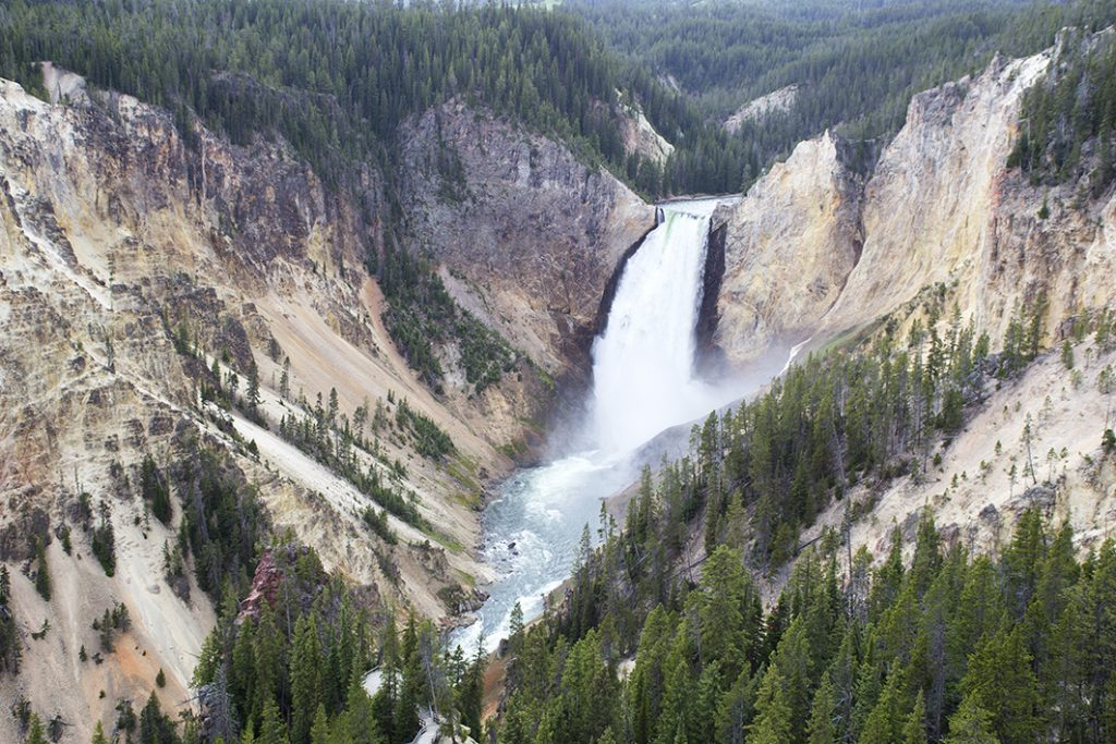 Lower Fall in Yellowstone uitzichtpunt