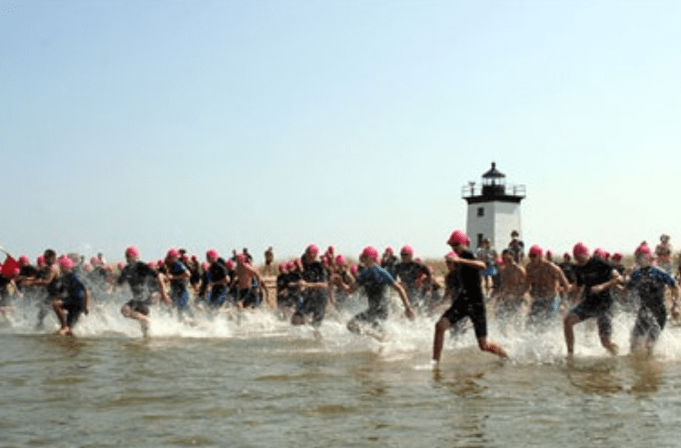 Provincetown Swim for Life & Paddler Flotilla, annual benefit for AIDS, women's health and the community; start at Long Point, Provincetown Harbor, 2008. Photo: Mike Syers.