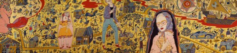 The huge tapestries of Grayson Perry, a critical view on contemporary society.