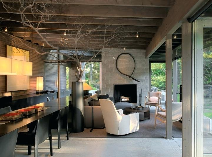 urban house interior design with nature accent