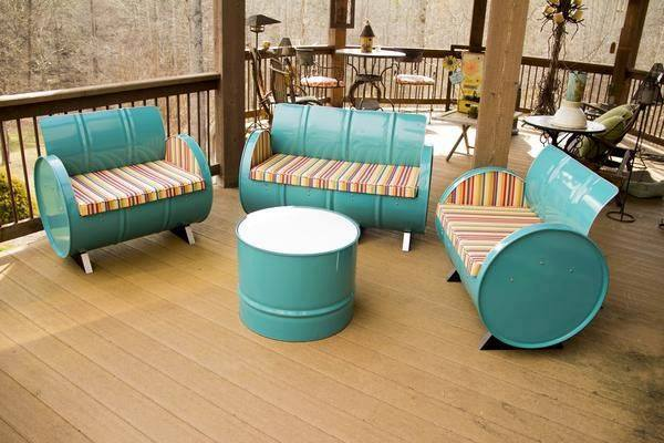 DIY Recycled Metal Drum For Chairs Set
