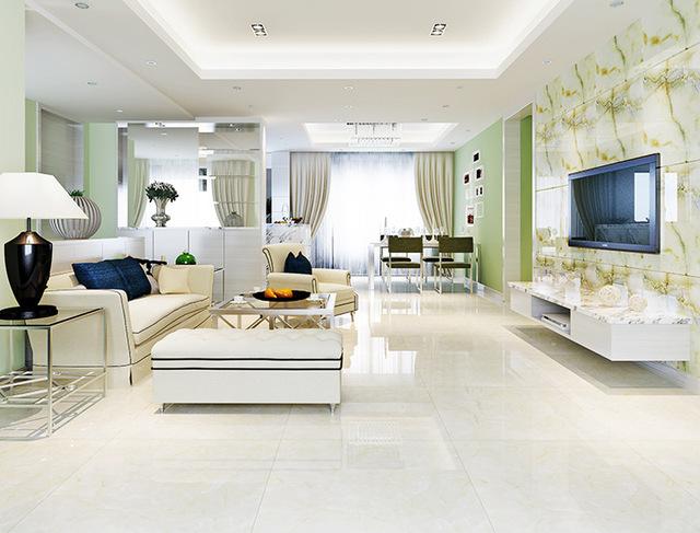 glazed ceramic tile for living room area