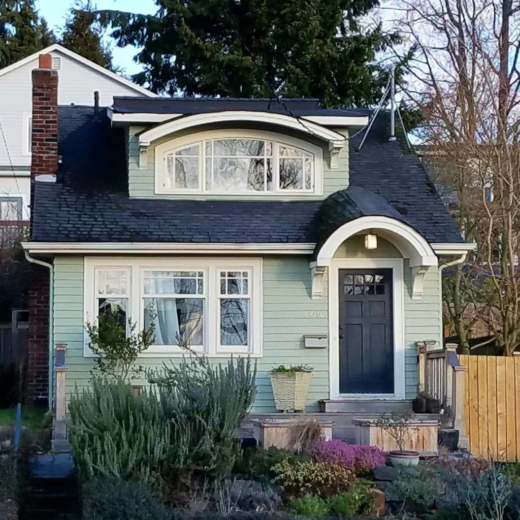 green pastel shade design house