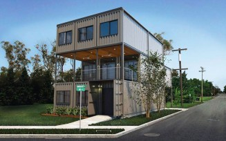 minimalist container house in a house