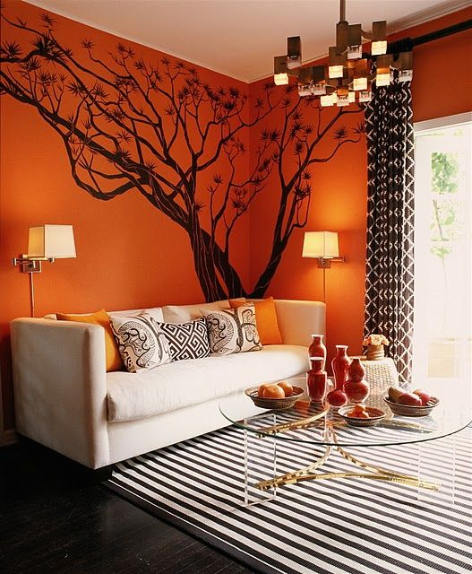 orange wall color interior