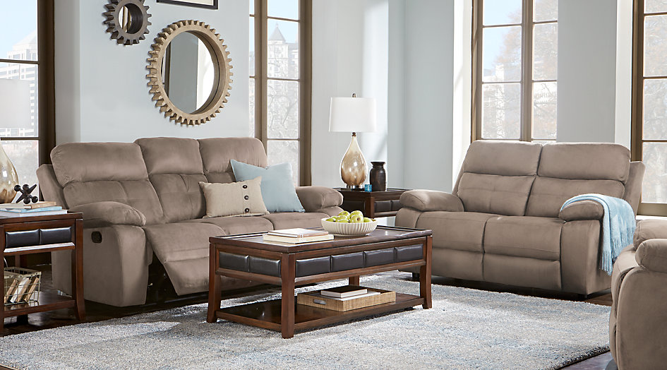 brown sofa style with wooden table design