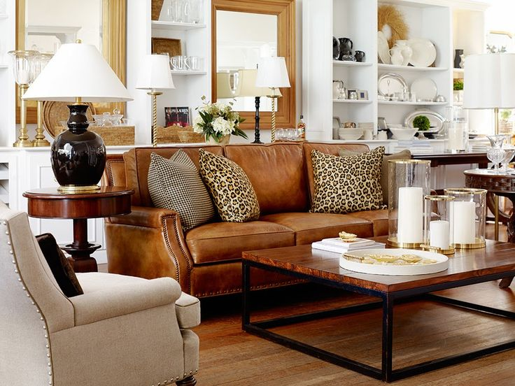 colorful living room with leather sofa ideas