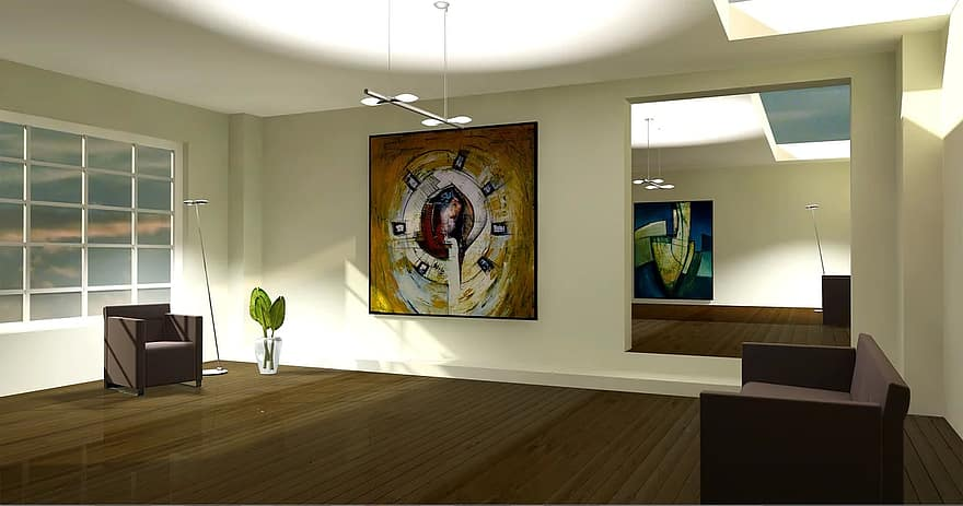 entity lichtraum exhibition gallery living room apartment graphic rendering architecture