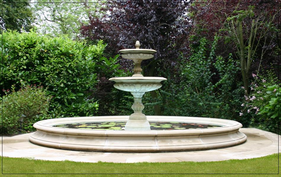 garden fountain and pool