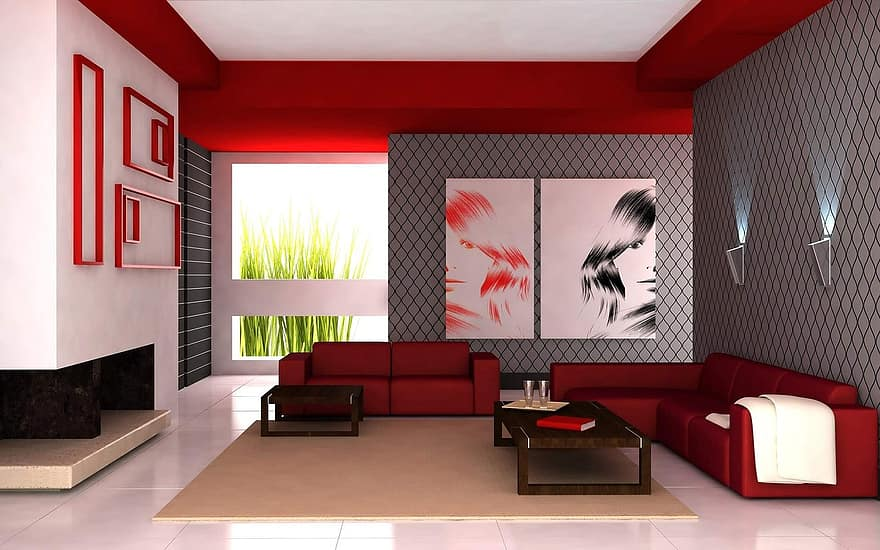 living room apartment red white interior design furniture modern