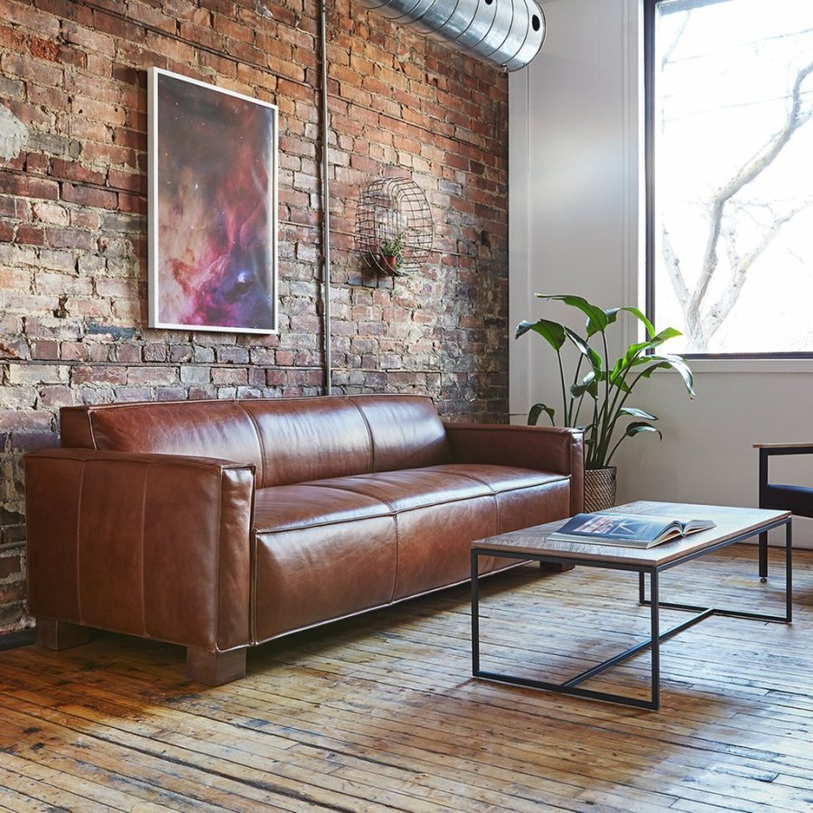 living room ideas leather sofa with brick wall