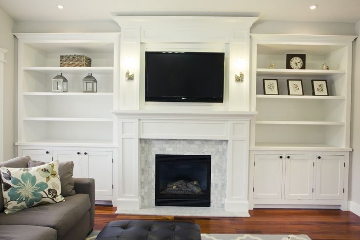 minimalist fireplace with shelving