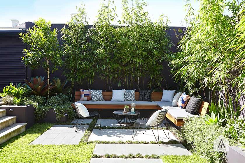 simple backyard dining area