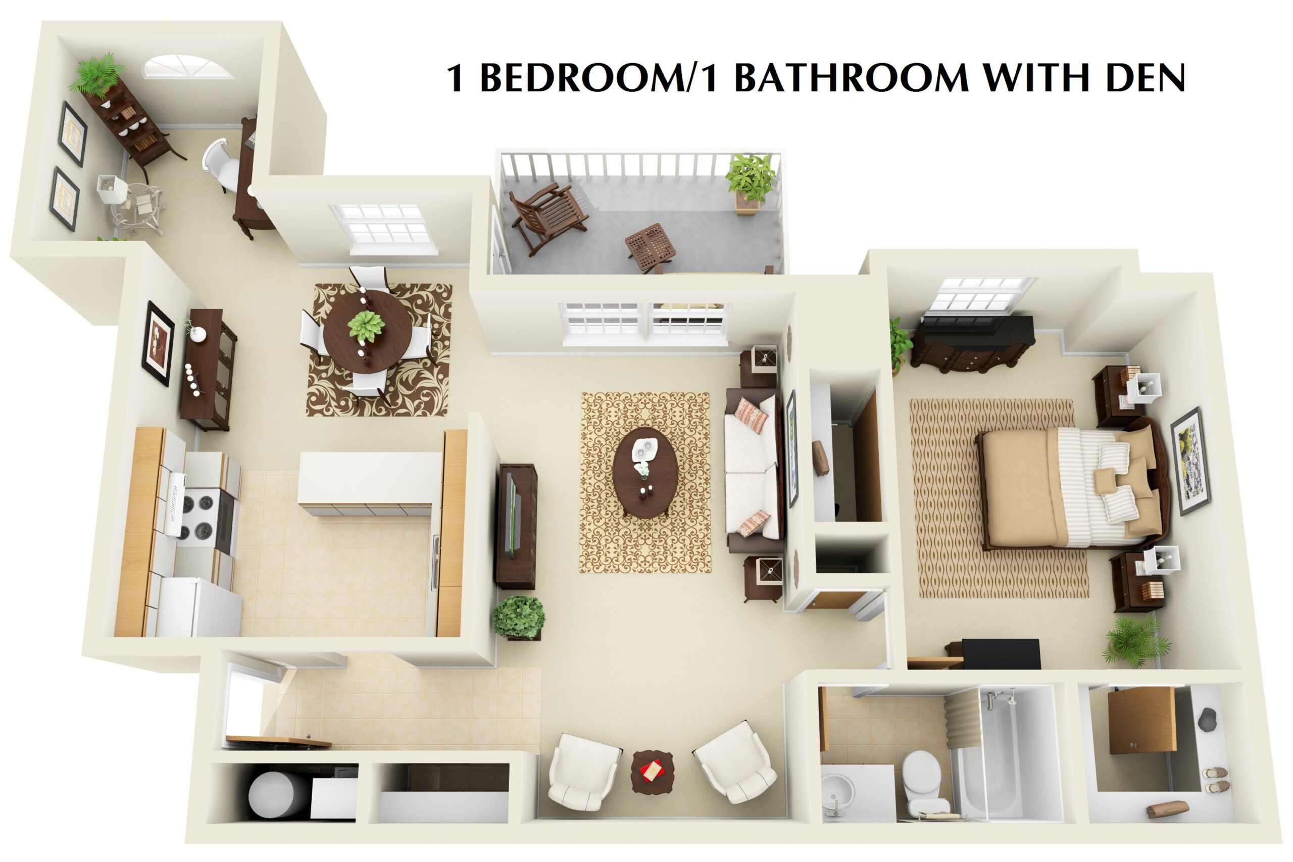 1 bedroom 1 bathroom with den