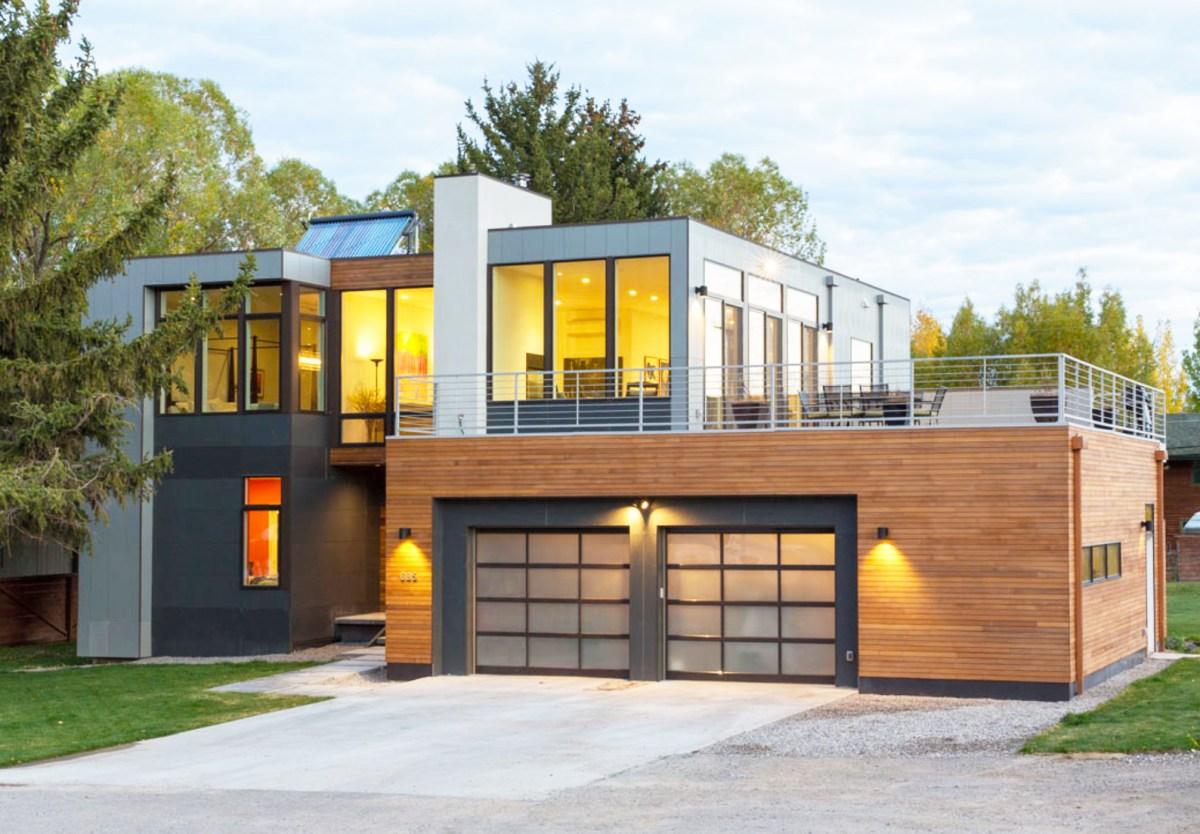 modular home with garage inside