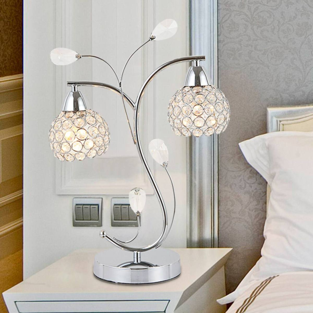 crystal bedroom table lamp