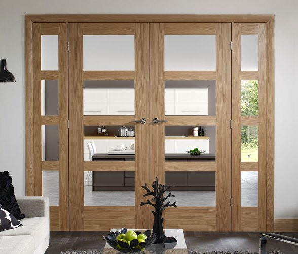 oak door with glass