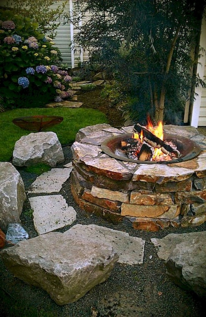 Medium Garden With Fire Pit Ideas