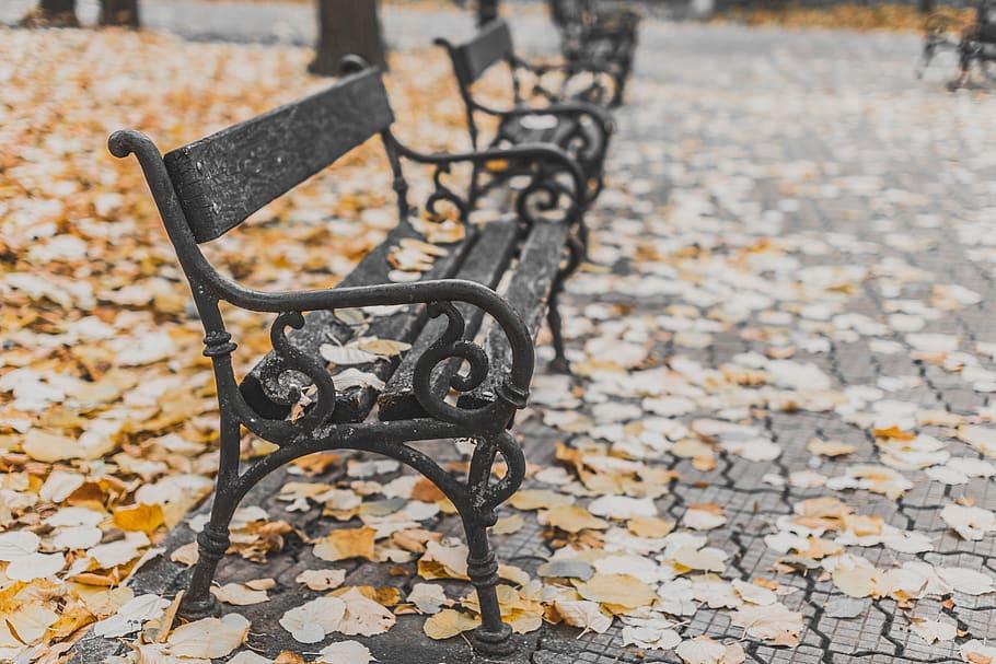 classic black metal bench design for yard decoration
