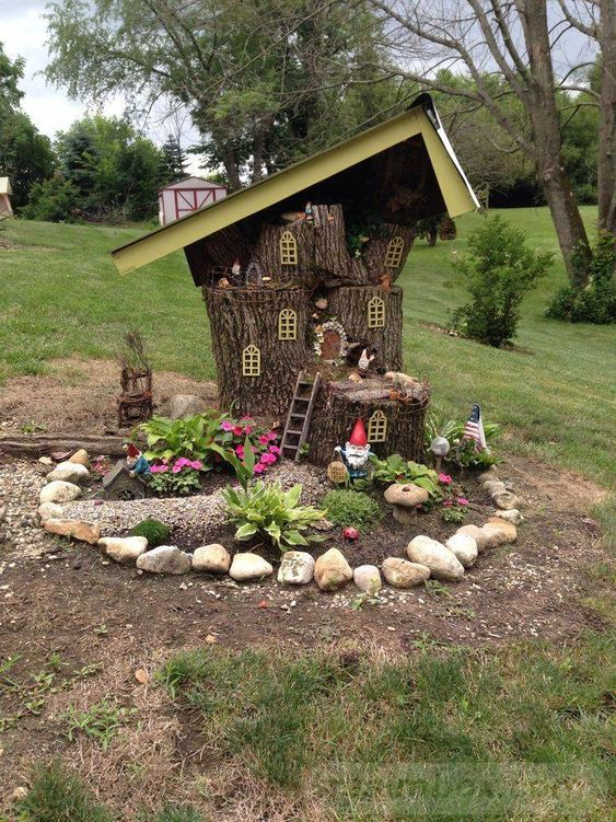 beautiful and creative gnome house tree stump
